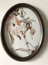 Gemälde Hinterglasmalerei Jugendstil Blume Meise Insekt