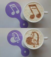 2 x music note coffee cup stencil reusable orchestra Valentines heart gift cafe