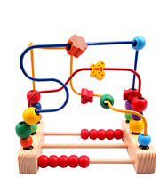 Wooden Toddler Toys Circle First Bead Maze Boys Girls Large Color Learning