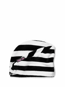 Victoria's Secret Signature Striped Absorbent Hair Towel Stripe Black White NWT
