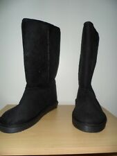 Black Suede Mid Calf Boots with fur lining