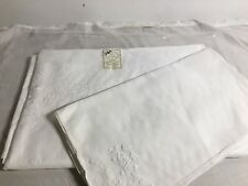 New  Irish linen 66x66 Tablecloth And 8 Placemats Madeira  Hand Embroidered