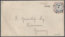 LIBERIA GERMANY 1892 3¢ INLAND POSTAL COVER W/POSTAGE PAID HANDSTAMP MOLDAVIA TO