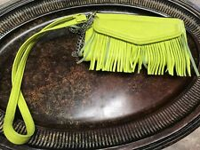 Madden Girl Women's Lime Green Fringe Faux Wristlet Wallet Organizer NWOT Large