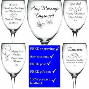 Personalised Engraved Wine Glass PROSECCO Wedding bridesmaid champagne gift