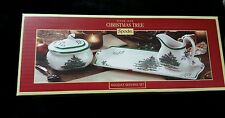 SPODE: Christmas Tree Design Holiday 4-pc Holiday Serving SET New MSRP $147.00