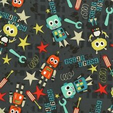 Michael Miller Bot Boy Fabric in Graphite Grey. Robots. By the Fat Quarter