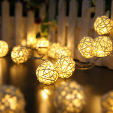 Wicker Rattan Ball Indoor Bedroom Fairy String Lights With 20 Warm White LEDs UK