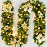 Christmas Garland Xmas Decor Pine Needles Rattan Fireplace Wreath Decoration Lot