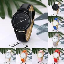 Fashion Women Men Leather Band Stainless Steel Sport Analog Quartz Wrist Watch