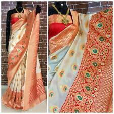 White Saree Indian Bollywood Wedding Women Designer Banrasi Silk Handloom Sari