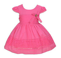 New Baby Girls Cotton Party Dress in Hot Pink Yellow Ivory 6 9 12 18 24 Months