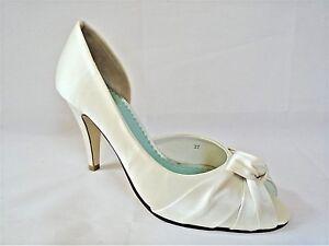 FIFIPPA SCOTT LOLA LADIES IVORY SILK WEDDING HEELS SHOES WOMANS UK 4 - EUR 37