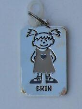 Erin NAME CHARM dog tag pendant zipper pull key chain flair
