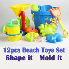 Quality 12pcs Beach Sandpit Bucket Toys Water can 4 Moulds 4 Spade