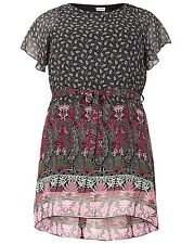 Emily Simply Be Black Pink Paisley Border Print Tunic Dress Plus Sizes 16 - 26