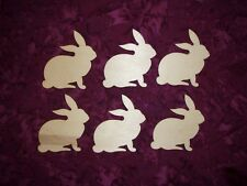 Rabbit Shape Unfinished Wood Mini Bunny Wooden Craft Cut Outs 6 Pcs