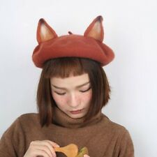 Ladies Cute Fox Ear Beret Caps Lolita Retro Genuine Barett Wool Warm Painter Hat