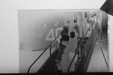 (3) B&W Press Photo Negative Little Child Exiting Airplane Flight Captain T6141