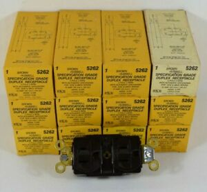 LOT of 12 HUBBELL Brown 2-Pole 3-Wire 12amp 125v Nema5-15R with Auto Ground