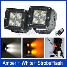 "Set 24W LED Work Light Flood Fog Cubes 3"" Pods White/Amber/Strobe Warning Lamp"