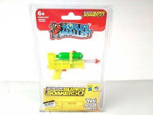 "Worlds Smallest Nerf Super Soaker 50 Pump Style Mini Water Gun Yellow Green 4"""