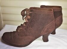NEOSENS Ankle Brown Lace-up Embossed Suede Boots Rococo NWOT 39/6