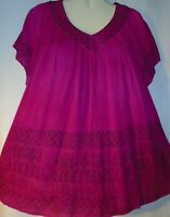 Womens Blouse Top Pink Black Long Full Tunic Short Sleeves Free Size Fits XL 1X