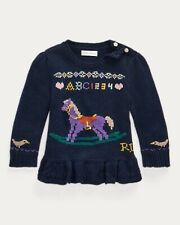 New with Tags Ralph Lauren Navy Wool Sweater RockingHorse Embroidery Girls 24mos