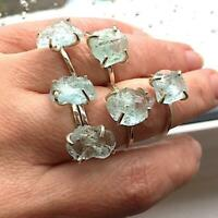 Raw Aquamarine Ring 925 Sterling Silver ring Raw Stone Ring Rough Gemstone Ring