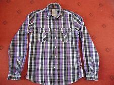 Men's New Look Purple/black/white checked Long sleeved Casual Shirt, Small