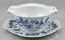 Blue Danube Japan Gravy Boat Attached Under Plate Blue Onion Rectangle Mark