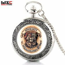 Vintage Harry Potter Hogwarts Antique Pocket Watch Quartz Pendant Gift Silver UK
