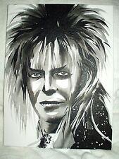 Canvas Painting Labyrinth Movie David Bowie Jareth B B&W 16x12 inch Acrylic