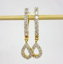 CLASSY THAI HUGGIE CZ EARRINGS 22K 18K Gold GP Women Jewelry GT5