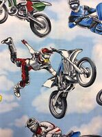 RPFTT19F Dirt Bike Racing Moto Cross Motorcycle Blue Skies Cotton Quilt Fabric