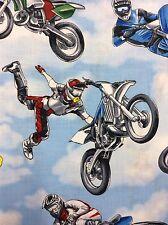 TT19 Dirt Bike Racing Moto Cross Motorcycle X Blue Skies Cottton Quilt Fabric