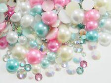 USA 2000 Pink Turquoise White Ivory Flatback Faux Pearls Crystal AB Rhinestones
