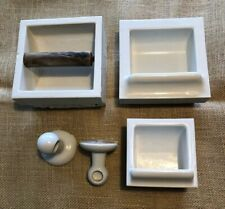 """The FAIRFACTS CO"" Rare Lot Of 4 BILTIN Porcelain Recessed Bathroom Fixtures"