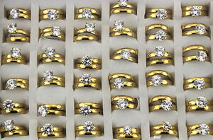 30pcs New Wholesale Jewelry Lots 2 in 1 Gold P Rings Stainless Steel Ring AH479