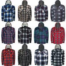 Mens Lumberjack Sherpa Fur Fleece Lined Hoodie Jacket Hooded Work Padded Shirt