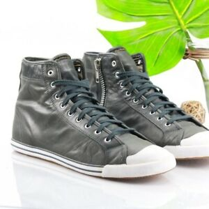 Diesel 12.5 Sneaker Today And Tomorrow Future Zip Metallic Gray Leather High Top