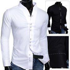 Men's slim fit Party Dress Shirt Collarless Long Sleeve Square Buttons Cotton UK