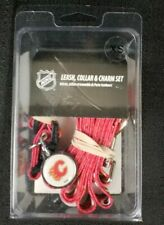 Calgary Flames Dog Collar leash and ID Tag pet set NHL Hockey
