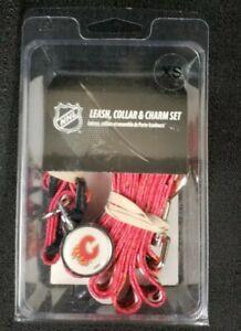 Calgary Flames Dog Collar leash and ID Tag pet set NHL Hockey