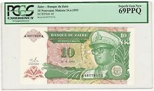 1993 Zaire 10 Nouveaux Makuta Bank Note Bill - Pick# 49 - PCGS GEM NEW 69 PPQ