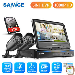 """SANNCE 1080p CCTV Outdoor Camera 4CH 10.1""""LCD Monitor DVR Home Security Kit 1TB"""