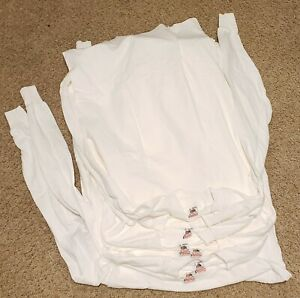 New Vtg 80s 90s Lot of 6 Fruit of the Loom Single Stitch White Long Sleeve (L)