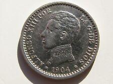 ALFONSO XIII , BONITOS 50 CENTIMOS DE 1904 ESTRELLAS 0 - 4 . PLATA