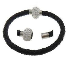 Black leather braided bracelet wristband with magnetic clasp and rhinestone ball